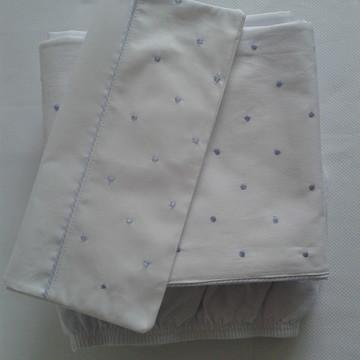 lençol de berço bordado poá