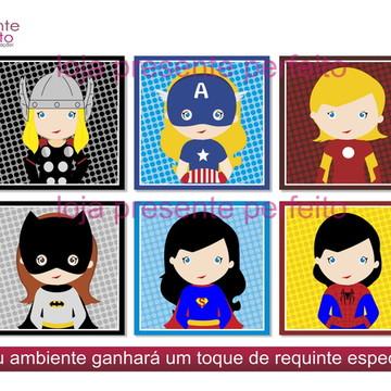 Quadros Decorativos Quarto Menina 6 uni