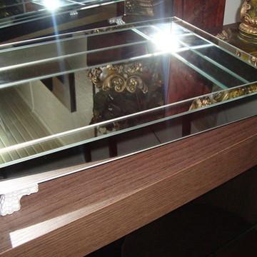 Bandeja Espelho Liso Prata 26 x 36 cm