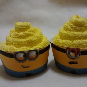 Cupcake de toalha tema minions
