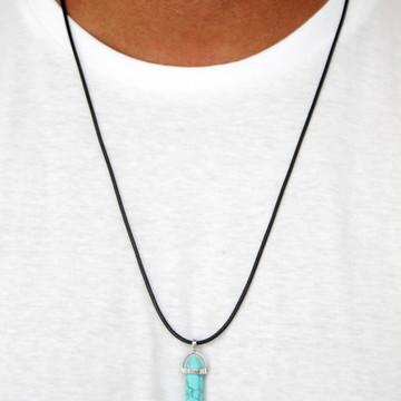 Colar do Anjo Big Broder Pedra Azul Turquesa