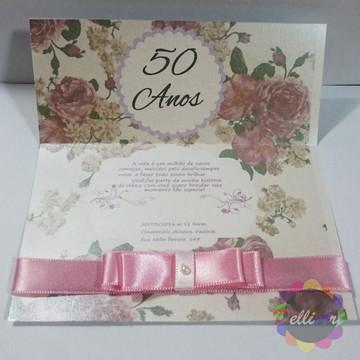 Convite de Aniversario - Rosa