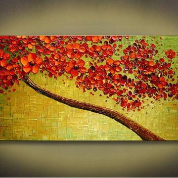 Quadro pintura em tela Árvores em relevos vermelha
