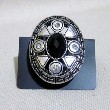 Anel com Silicone Oval Pedra Preta