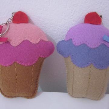 Chaveiro cupcake em feltro