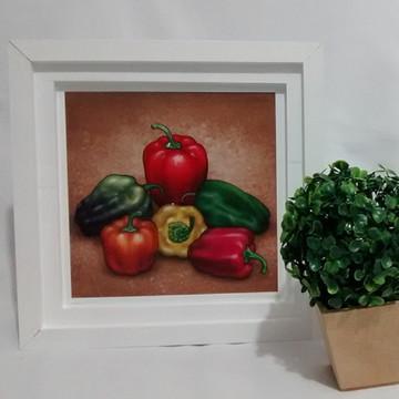 Quadro Decorativo Branco Legumes Cozinha
