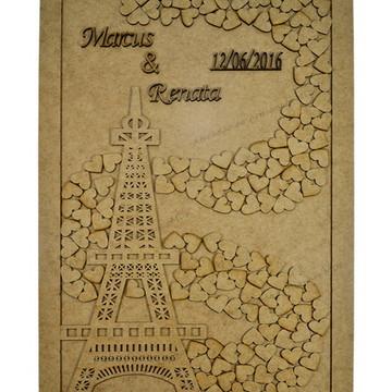 Quadro Assinatura Casamento Torre Eiffel