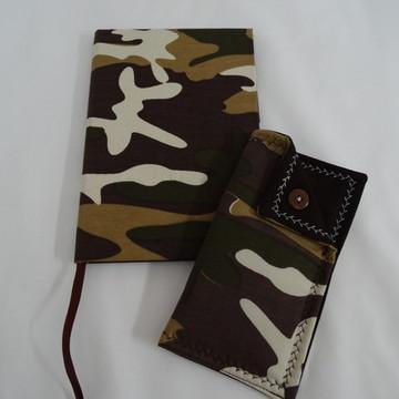Caderno Encapado Tecido e porta óculos