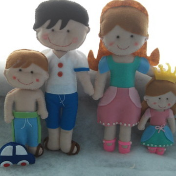 Familia de feltro personalizada 4 person