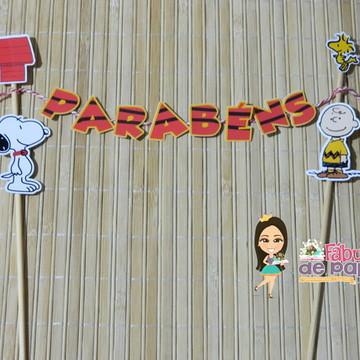 Bandeirola Bolo Snoopy