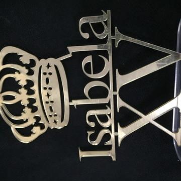 Topo Debutante Coroa Nome XV Espelhado