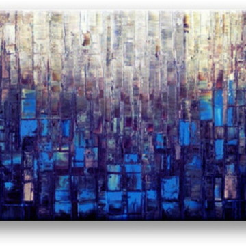 Quadro Pintura em tela Abstrato construtivista azul
