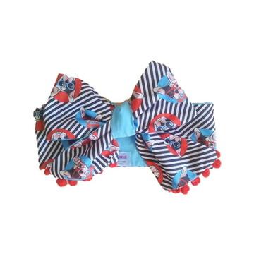 Headwrap (Maxi laço) Bulldog pompom