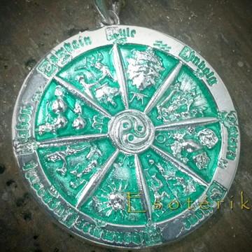 Roda do ano Wicca em prata com esmaltaçã