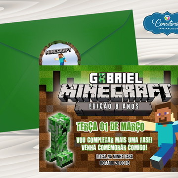Convite Infantil - Mine Craft