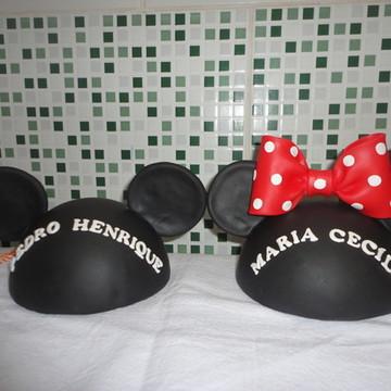 Topo de Bolo Cabeça Mickey e Minie