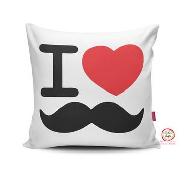 Capa de Almofada I love bigode 40x40cm
