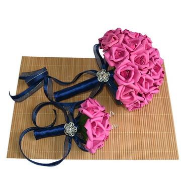 Kit Buquê de Noiva e Porta Alianças Pink