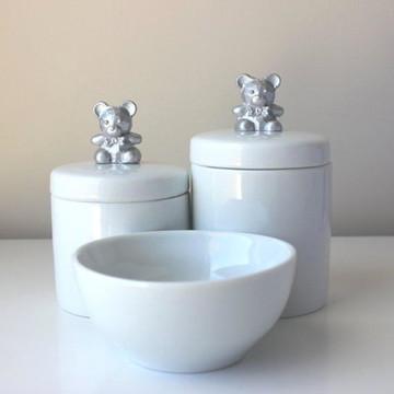 Kit Porcelana Ursinho Dourado/Prata