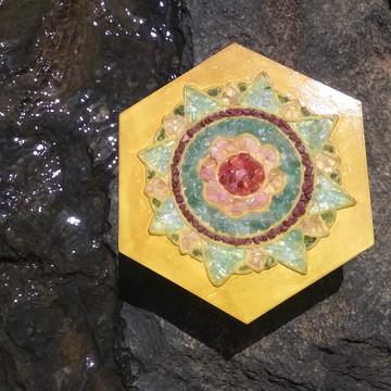 Mandala pedras semi preciosas cristais