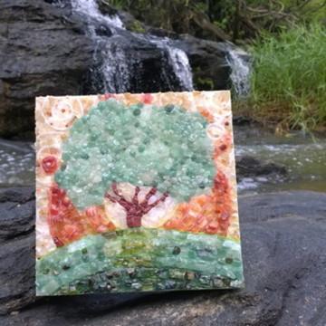 mosaico árvore pedras semi preciosas