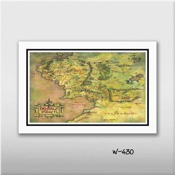 Quadro Hobbit - Mapa Terra Média 60x40cm Decoracao Sala