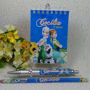 Bloquinho, Caneta e Lápis - Frozen Fever