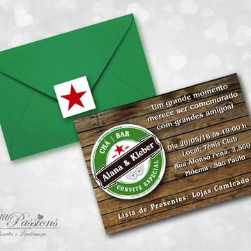 Convite Chá Bar Heineken - Grátis Convite Digital