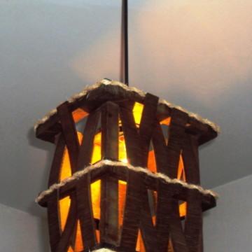 lustre luminaria de teto rustico