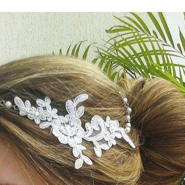 Headband Guipure Bride Pearls