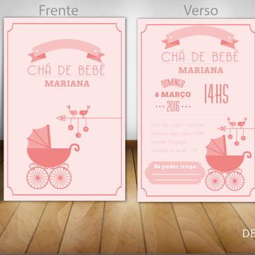 Convite Chá de Bebê rosa com carrinho