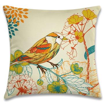 capa de almofada pássaros amarelo