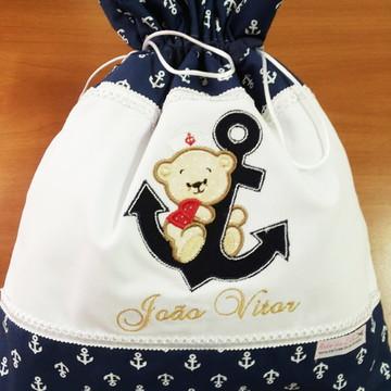 Saco para roupas sujas urso marinheiro