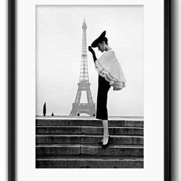 Quadro Paris Retrô Fashion Preto Branco com Paspatur