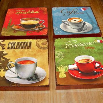 4 Quadros Tela Decorativos Café 2