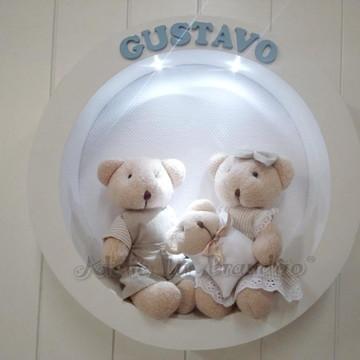 Enfeite de Porta Maternidade Família Urso
