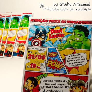 Convite Gibi - Super Heroi Cute