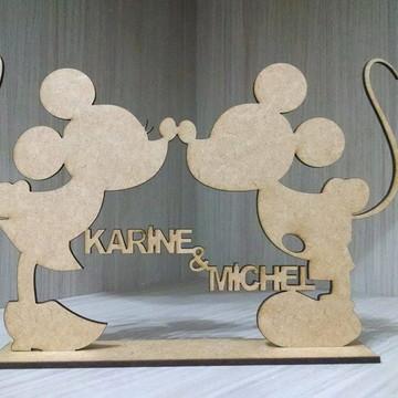 Casal Mickey E Minnie Em Mdf Personalizado Com Nome