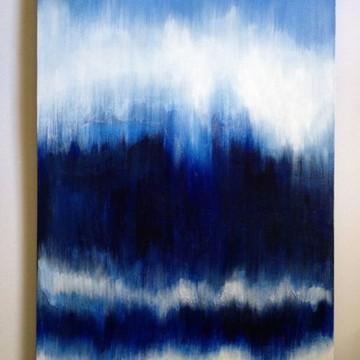 Quadro pintura tela abstrato azul jeans