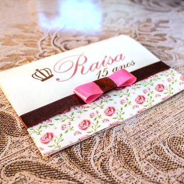 Convite Floral Rosa Aniversário 15 Anos