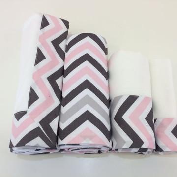 Kit Maternidade - Chevron rosa e cinza