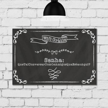 Placa Decorativa MDF Giz Cozinha Wifi 20x30cm