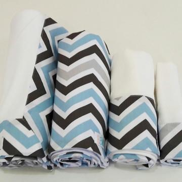 Kit Maternidade - Chevron azul e cinza