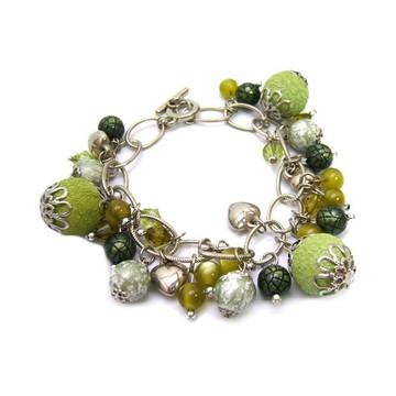 Pulseira Feminina Pedras Verdes