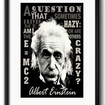Quadro Einstein Frase Decoração com Paspatur