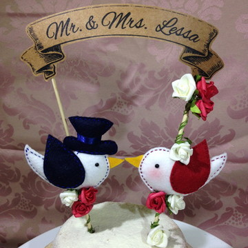 Topo bolo casal de passarinhos - Feltro