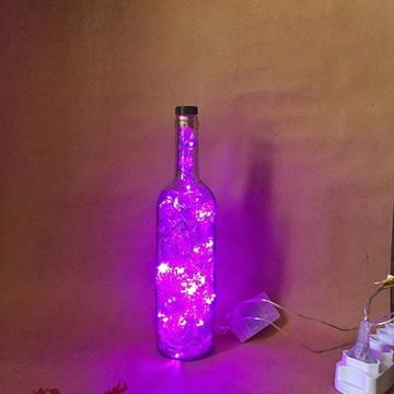 Luminária de garrafa - LED Roxo
