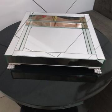 Bandeja de Espelho Prata 31 x 31 cm