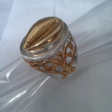 anel Búzio todo em prata com detalhes