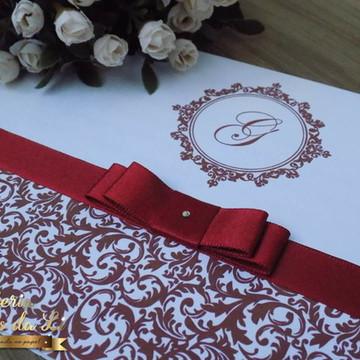 Convite Casamento 15 Anos Bordô